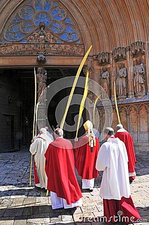 Archbishop of Tarragona entering the Cathedral Editorial Photo