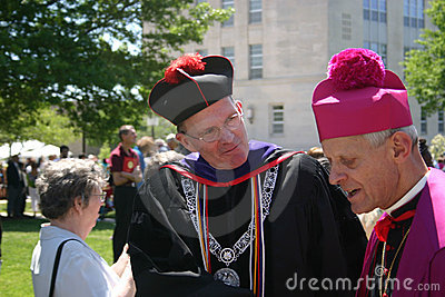 Archbishop Wuerl & David M O Connell at CUA grad Editorial Photography