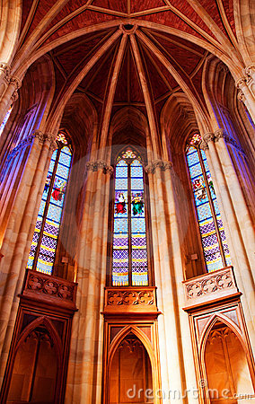 Arched ceiling with stained glass windows