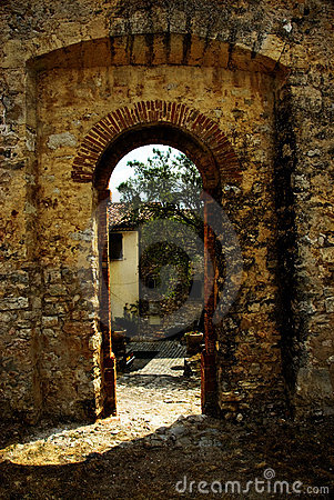 Arched doorway in wall