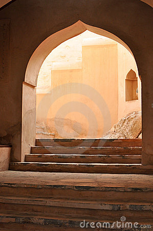 Arched stairway entrance