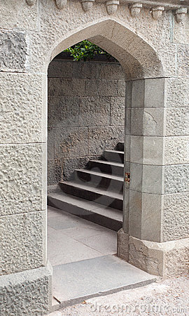 Free Arched Stone Doorway And Staircase Stock Image - 19796921