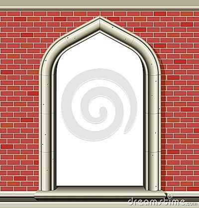 Arched window, bricks