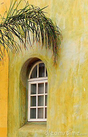Arched window with palm branch
