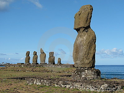 Archeological complex on the Easter Island.