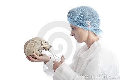 Archeology mature woman with skull