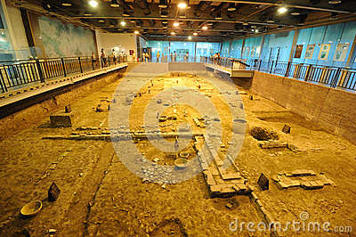 Archeology site of Tang Dynasty in Chengdu Editorial Photography