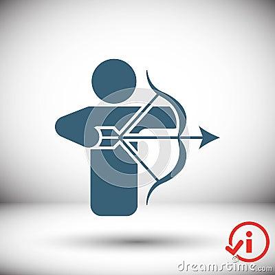Archery Arrow Target Equipment Sport Icon Flat Vector Illustration Vector Illustration