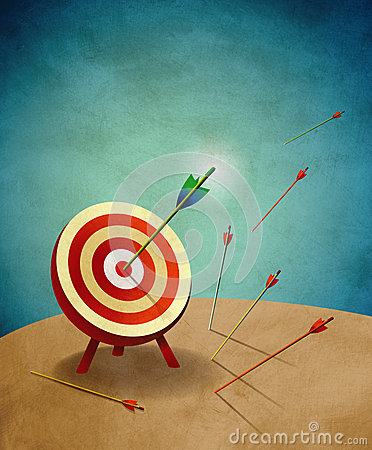 Archery Target with Arrows Metaphor Illustration