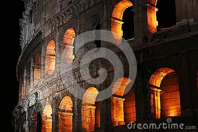 Arches of the Colosseum at Night