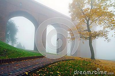 Arches of Kwidzyn castle in fog