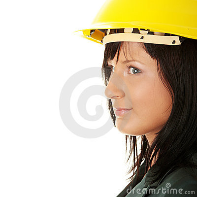 Architect or builder wearing a yellow hart hat