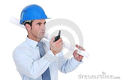 Architect communicating via radio receiver