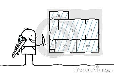 Architect drawing apartment plan