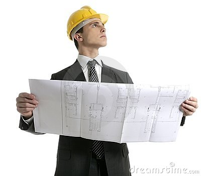 Architect executive businessman with plans