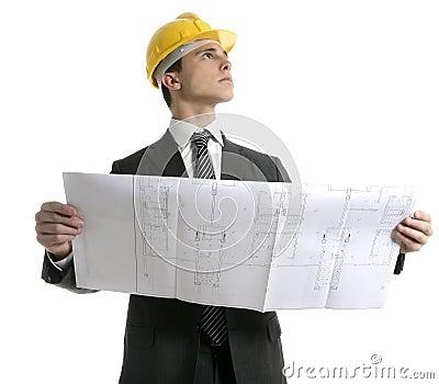 Architect executive businessman with plans