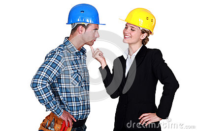 Architect flirting with builder