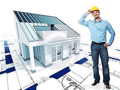 Architect  with his project