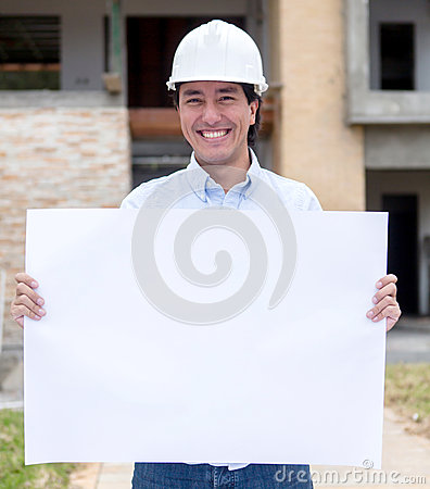 Architect holding a banner