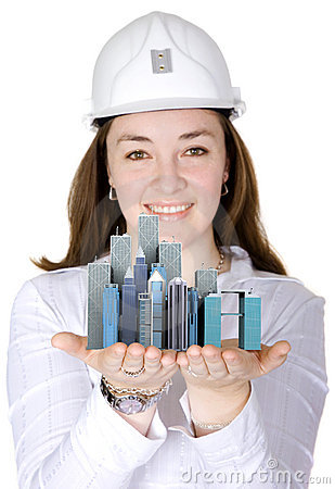 architect holding corporate buildings