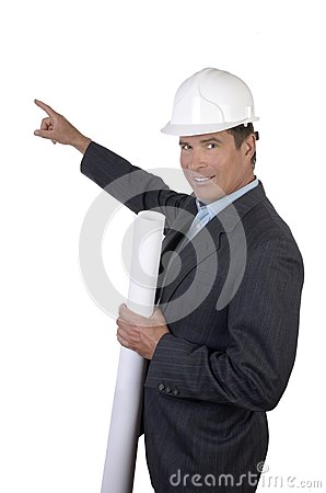 Architect indicating with finger