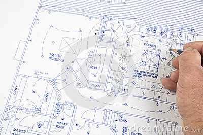Architect making changes to plans