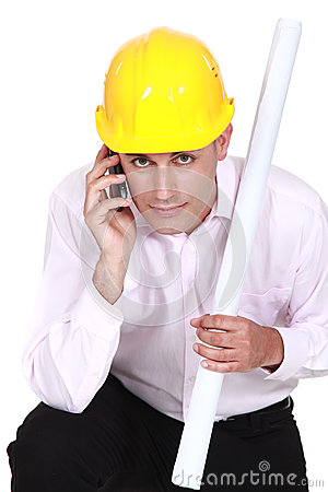 Architect making important call