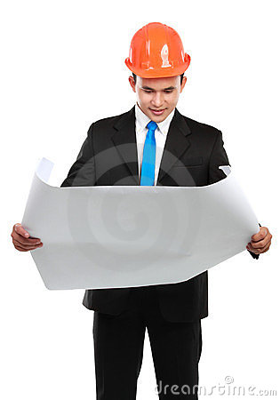Architect man with map