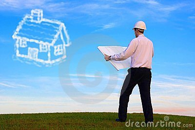 Architect with Plan and house in the cloud