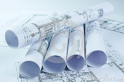 Architect rolls and house plan