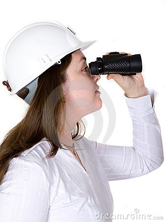 Architect searching with binoculars