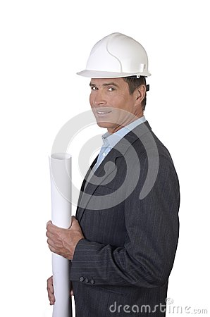 Architect smiling with blue print paper roll