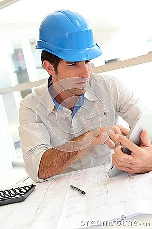 Architect using touchpad