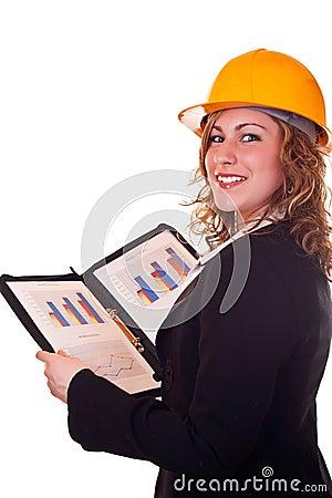 Architect woman and statistics