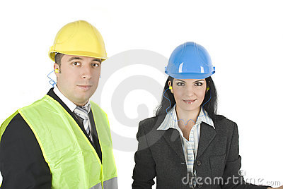 Architects in hard hats