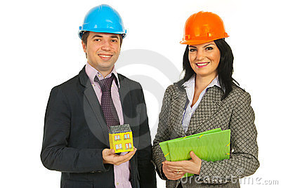Architects holding home and folders