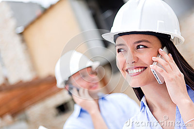 Architects talking on the phone
