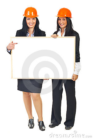 Architects women holding banner