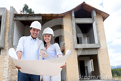 Architects working on a house project