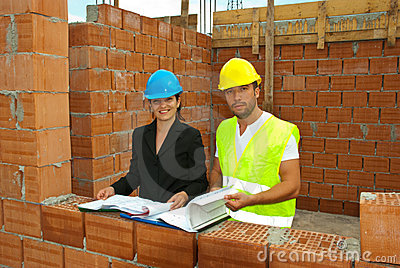 Architects working on site
