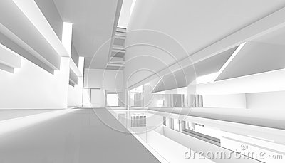 Architectural abstract 3d rendering Cartoon Illustration