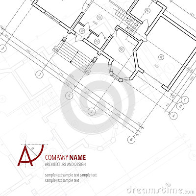 architectural background blue building plan silhouette and a letter