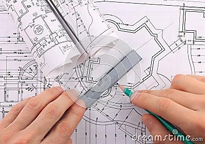 Architectural blueprints rolls.
