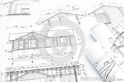 Architectural Building Plans Rolls Blueprints Construction New Home 55454765 New Home Construction Plans House Design Ideas