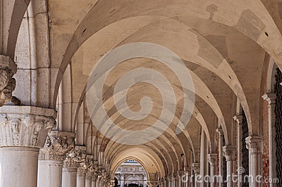 Architectural Columns in a Venice Musem