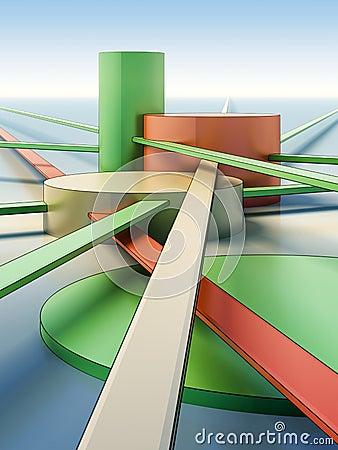 Architectural composition of futuristic city.