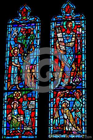 Architectural detail. Stained glass window.