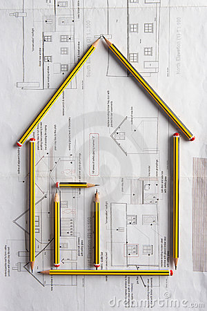 Architectural drawing and pencils