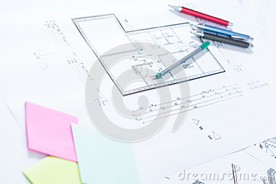 Architectural Drawings On Paper Stock Illustration Image