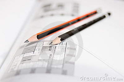 Architectural drawings with pencils